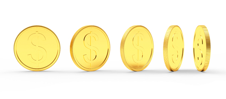 Golden coin with dollar sign in different angles isolated on white. 3D illustration
