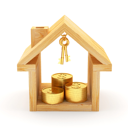 Wooden house icon with stacks of golden coins. 3D illustration Stock Photo