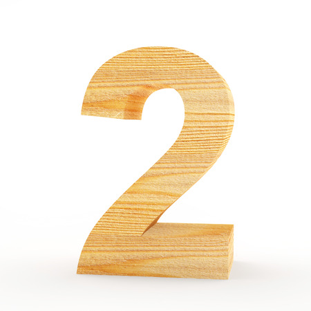 solid figure: Wooden number 2 isolated on white background. 3D illustration Archivio Fotografico