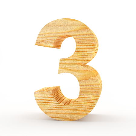 Wooden number 3 isolated on white background. 3D illustration