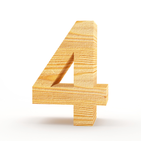 Wooden number 4 isolated on white background. 3D illustration