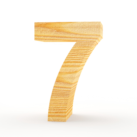 Wooden number 7 isolated on white background. 3D illustration Stock Photo