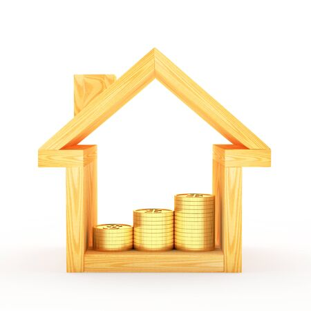 real estate house: Wooden house icon with the graph of golden coins inside isolated on white background. 3D illustration