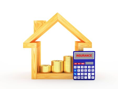 real estate house: Wooden house icon and calculator with the word INSURANCE on the display isolated on white background. 3D illustration Stock Photo