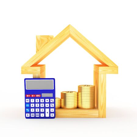 bookkeeper: Wooden house icon with calculator and the graph of coins inside isolated on white background. 3D illustration
