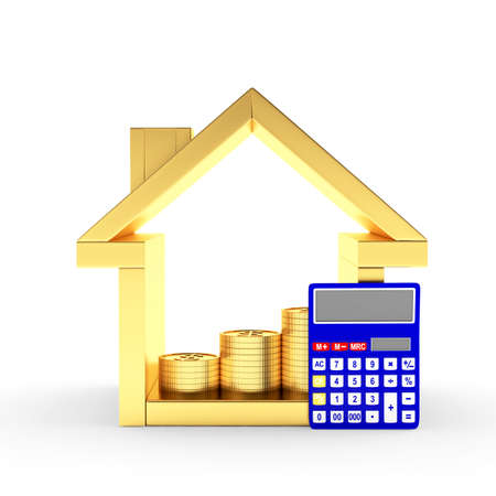 Golden house icon with calculator and the graph of coins inside isolated on white background. 3D illustration