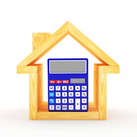 Wooden house icon with calculator inside isolated on white background. 3D illustration