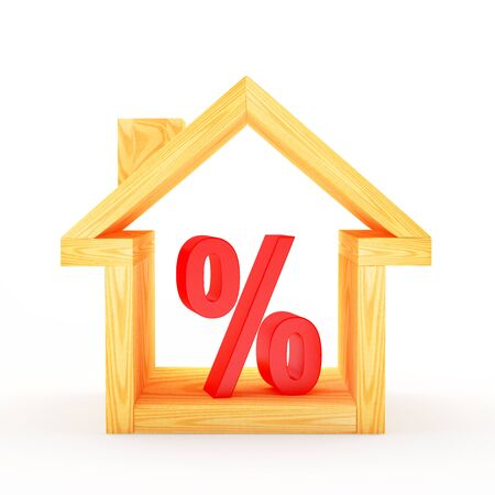 Wooden house icon with a red percent sign. 3D illustration
