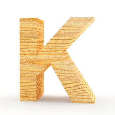 Capital letter K. Wooden alphabet isolated on white. 3D illustration