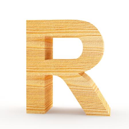 single word: Capital letter R. Wooden alphabet isolated on white. 3D illustration