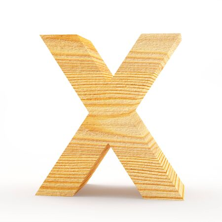 single word: Capital letter X. Wooden alphabet isolated on white. 3D illustration