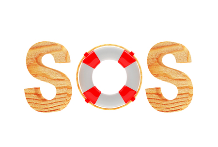 Word SOS with lifebuoy isolated on white background. 3d illustration