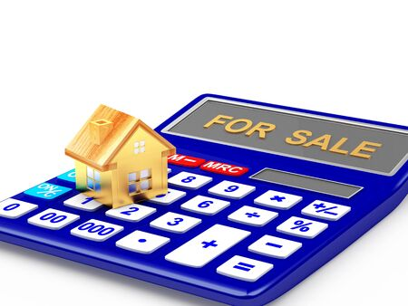 bookkeeper: House icon on the calculator with word FOR SALE isolated on white background. 3D illustration