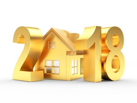 Real estate concept. Golden 2018 and house icon isolated on a white background. 3D illustration Stock Photo
