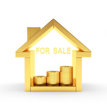 for rental: Golden house icon with coins and word FOR SALE isolated on white background. 3D illustration