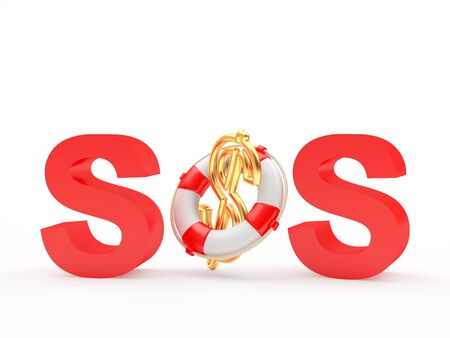 Red word SOS and dollar sign in lifebuoy isolated on white background. 3D illustration Stock Photo