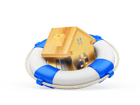 Real estate insurance. House icon in lifebuoy isolated on white background. 3D illustration Stock Photo