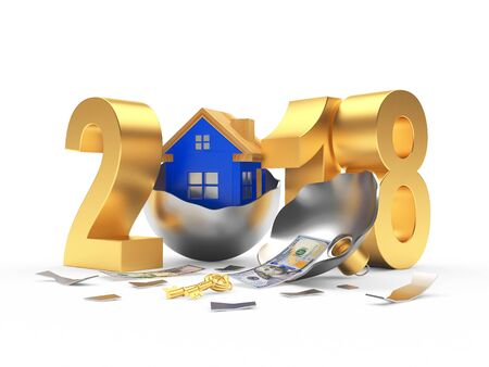 Real Estate Concept. Silver 2018 New Year And Wooden House On ...