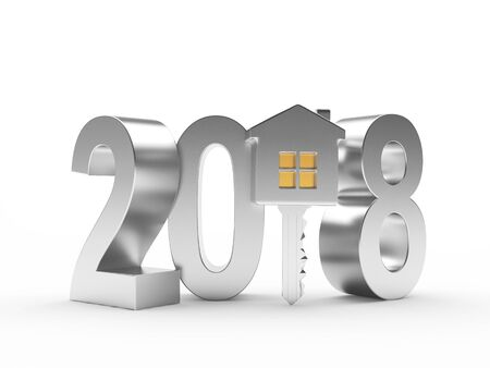 Real estate concept. Silver 2018 New Year and key with house figure isolated on white background. 3D illustration
