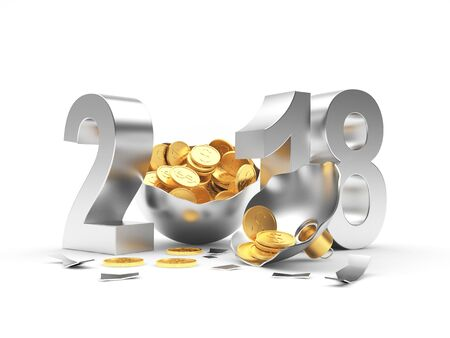 silver coins: Silver 2018 New Year and broken Christmas ball full of golden coins isolated on a white background. 3D illustration