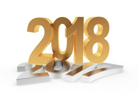 2018 New Year concept. Silver 2017 changed to golden 2018 isolated on white background. 3D illustration Stock Photo