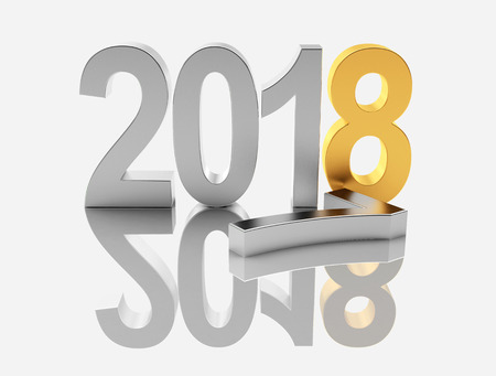 2018 New Year concept. Silver 2017 changed to golden 2018 with reflection. 3D illustration