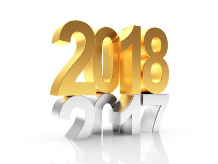 2018 New Year concept. Silver 2017 changed to golden 2018. 3D illustration