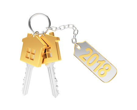 Set of golden keys and text 2018 on metal label isolated on white background. 3D illustration