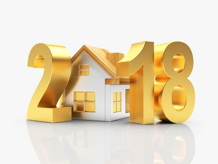 부동산 개념입니다. 골든 2018 새 해와 집 흰색 배경에 고립. 3D 일러스트 레이션