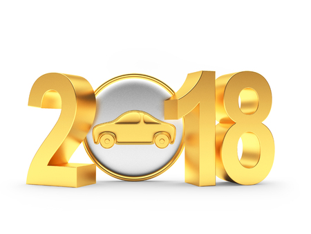 2018 New Year golden numbers and car icon on white background. 3D illustration Stock Photo