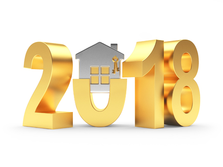 Golden 2018 New Year with silver house on white background. 3D illustration Stock Photo