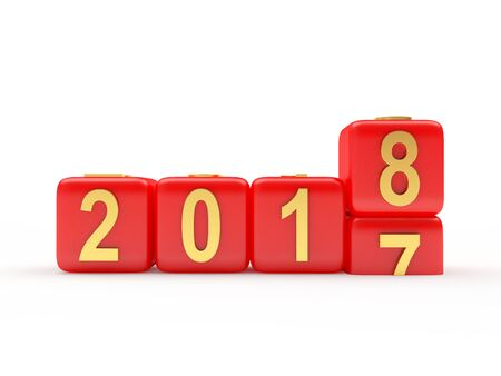 numbers abstract: 2018 New Year concept. Red cubes 2017 changing for 2018. 3D illustration Stock Photo