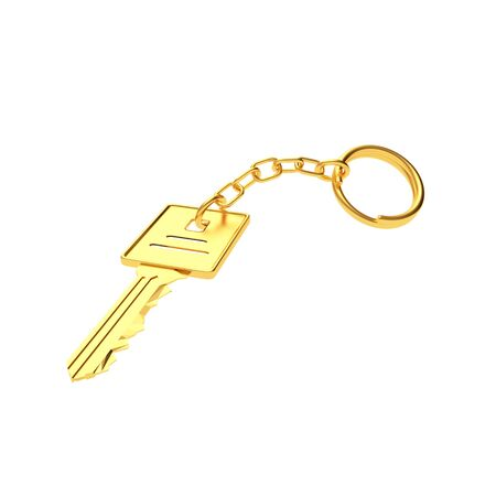 Clé d'or avec porte-clés isolé sur blanc. Illustration 3D Banque d'images - 85878404