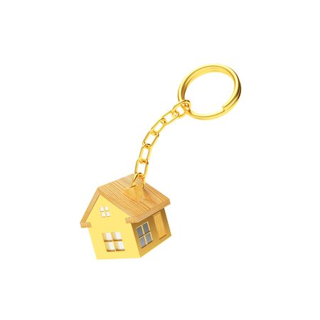 Golden house keychain isolated on a white background. 3D illustration
