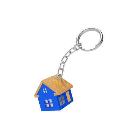 Blue house keychain isolated on a white background. 3D illustration Banco de Imagens - 85878407