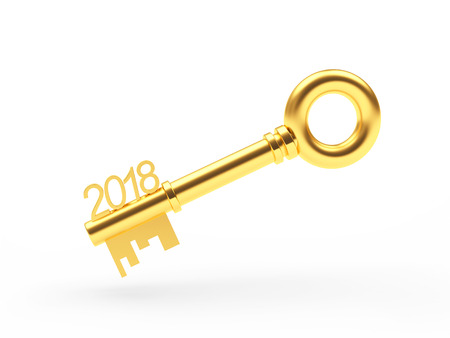 Real estate concept. Golden key 2018 isolated on white background. 3D illustration