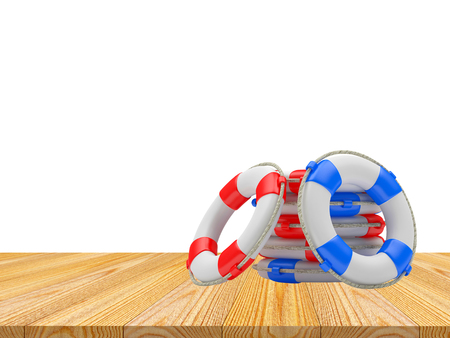 Pile of lifebuoys on a wooden floor on a white background. 3D illustration