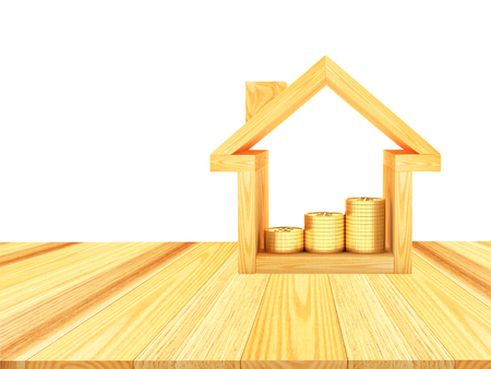 House icon with golden coins on a wooden floor with space for text. 3D illustration