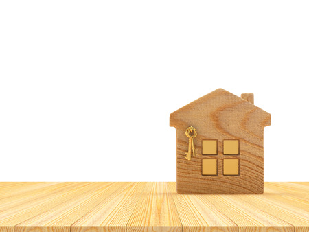 house logo: House icon on a wooden floor with space for text on white. 3D illustration Stock Photo