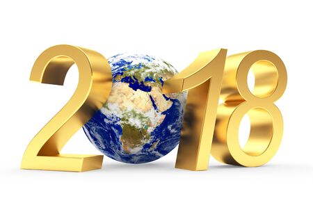 Golden numbers 2018 New Year and planet Earth on white. Elements of this image. 3D illustration Stock Photo