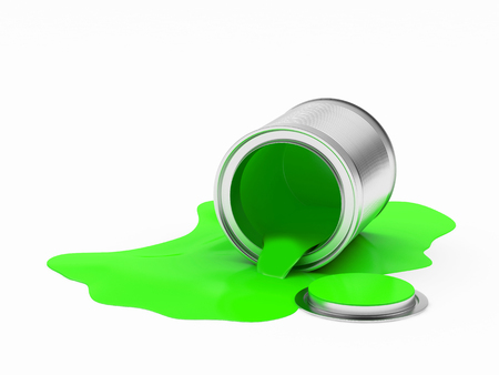 Can spilled green paint isolated on white background. 3D illustration