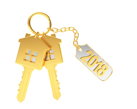 Two golden keys in the form of a house and text 2018 on metal label isolated on white background. 3D illustration Stock Photo