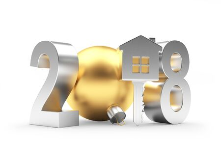 Silver 2018 New Year with key-house and golden Christmas ball isolated on a white background. 3D illustration