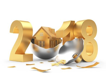 Golden 2018 New Year and broken Christmas ball with house inside on white background. 3D illustration Stock Photo