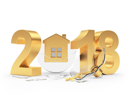 Golden 2018 New Year and broken transparent glass Christmas ball with house isolated on white background. 3D illustration