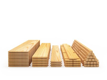 Wooden boards and planks in stacks front view on white background. Construction materials. 3D illustration Banco de Imagens