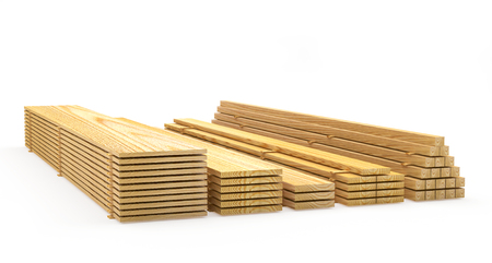 Wooden boards and planks in stacks on white. Construction materials. 3D illustration