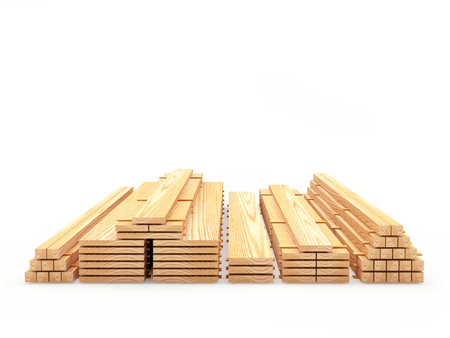 Wooden boards and planks are stacked in various stacks isolated on white background. Construction materials. 3D illustration Zdjęcie Seryjne