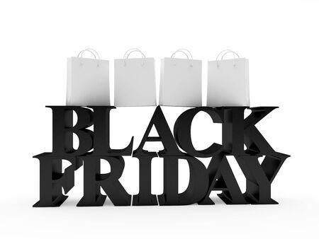 Black text Black Friday and white blanks shopping bags. 3D illustration Banco de Imagens