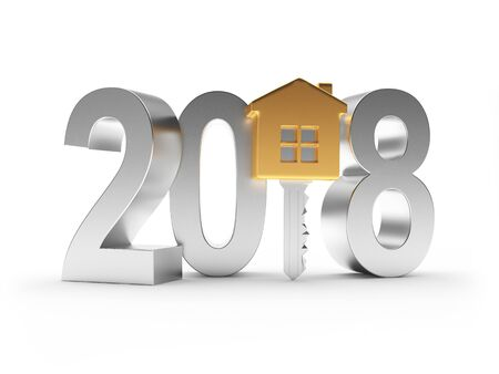 2018 New Year silver number and golden key-house icon on white. 3D illustration Stock Photo